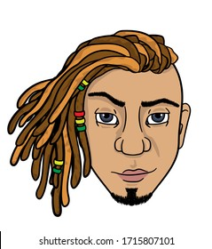 head man with dreadlocks. vector isolated on white background. stock illustration