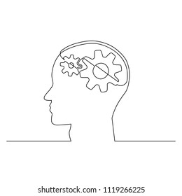 Head of a man with gears inside, drawn in one line on a white background. One-line drawing. Continuous line. Vector Eps10