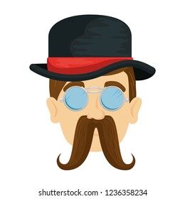 head man hipster with mustache and tophat