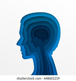 The head of a man and layers of age in the form of a paper style. Vector illustration