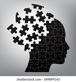 head man puzzles strategy. vector illustration