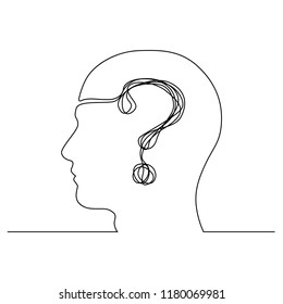 The head of a man with a question mark is drawn by a single black line on a white background. Continuous line drawing. Vector illustration.