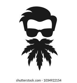 head of marijuana. beard cannabis. vector logo.