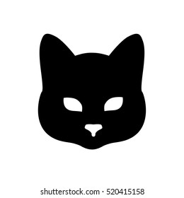 head mask black cat on a white background