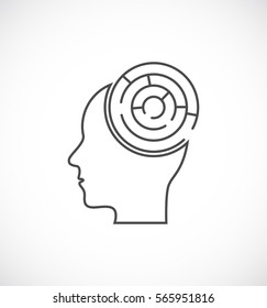 head with maze labyrinth icon