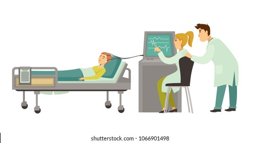 Head medical examination vector encephalography