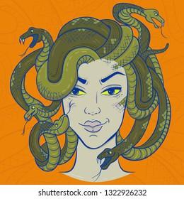 Head of Medusa gorgon with snake hair. Smiling portrait. Vector illustration on orange background