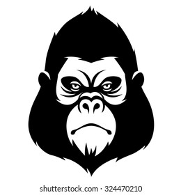 The head of a monkey, symbol of 2016 year. Black illustration isolated on white background