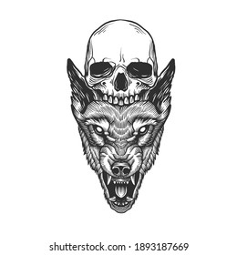 A head of a monster and a skull. Can be used as a sketch of a tattoo.