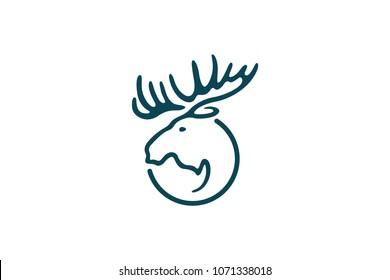 Head of Moose Line Art Logo