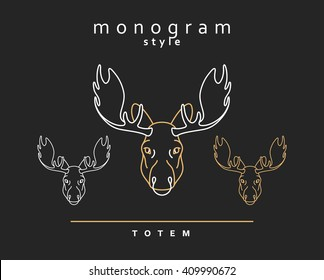 Head moose. Totem moose. Sketch of moose, elk. Wild animals. Emblem vector. Christmas deer. Forest animals. Elk horns. The head of a caribou