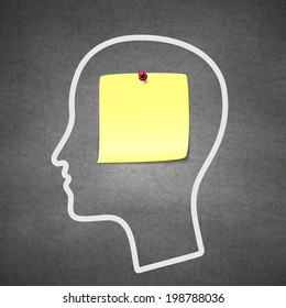 Head notes with a blank yellow paper note as a business reminder as a to do list.