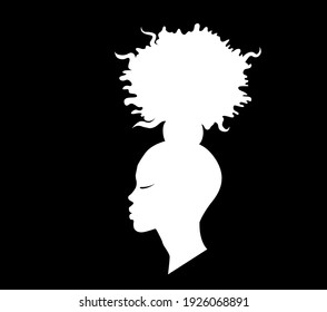 head with the original hairstyle of an African-American girl drawn in profile, vector picture