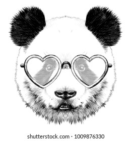 917d68ee63f4 head Panda with glasses in heart shape sketch vector graphics monochrome  drawing