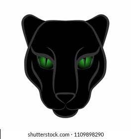 head of a panther with green eyes