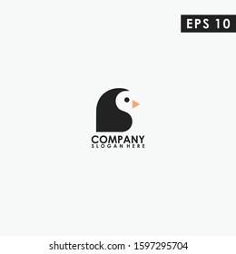 Head Of Penguin Logo Design. Head Of Penguin Logo Template. Modern Design. Flat Logo. Vector Illustration