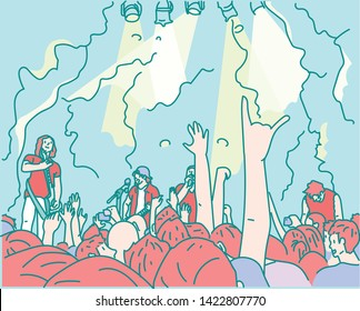 The head of people who raise their hands and the band playing on the stage. Rock concert bands and enthusiastic fans. hand drawn style vector design illustrations.