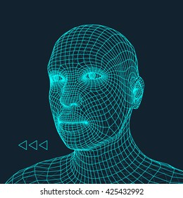 Head of the Person. 3D Geometric Face Design. Vector Illustration.