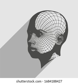 Head of the person from a 3d Grid. Human head wire model. 3D geometric face design. Polygonal covering skin. Web icon with long shadow
