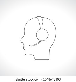 head of person with headphone outline icon