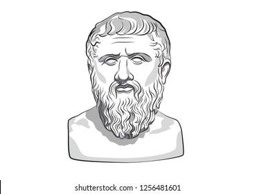 Head of Plato Platon Greece Athens Ancient philosophy Platonism statue philosopher vector