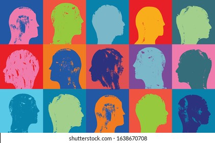 Head profiles pattern, Men and Women, Grunge Texture, Colorful, Vector Illustration