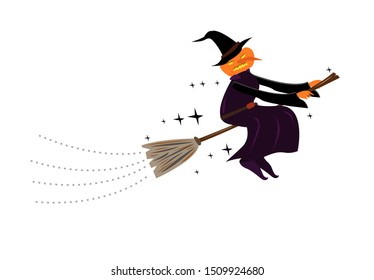 A With with a head of a pumpkin rides a broom. Isolated on white background. Editable Clip Art.