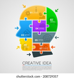 Head of puzzles info. Vector illustration