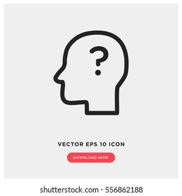 Head with question mark vector icon
