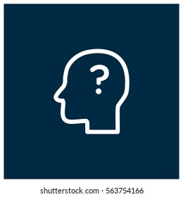 Head with question mark vector icon, unknown symbol. Modern, simple flat vector illustration for web site or mobile app