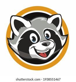 head raccoon mascot cartoon in vector