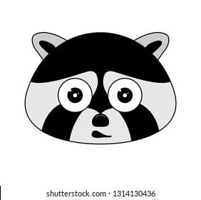 Head of racoon in cartoon style. Vector illustration. Woodland animal head icon. Shocked racoon. Racoon emotional head.