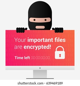 Head of the ransomware. Virus encryptor message on pc screen. Cyber attack. Editable eps10 Vector. Transparent background.