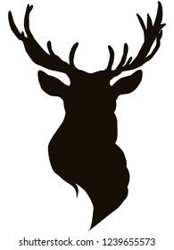 The head of a reindeer with horns in the form of a black stencil. The northern deer male is a symbol of the winter holidays. The stencil depicts horns and ears.