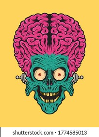Head of Retro Vintage Alien Attack With Big Brain Vector Illustration