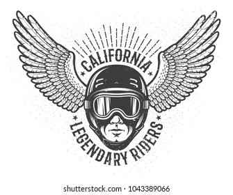 Head of the rider in helmet and sports goggles with wings on the sides - vintage emblem. Worn texture on separate layers and can be disabled.
