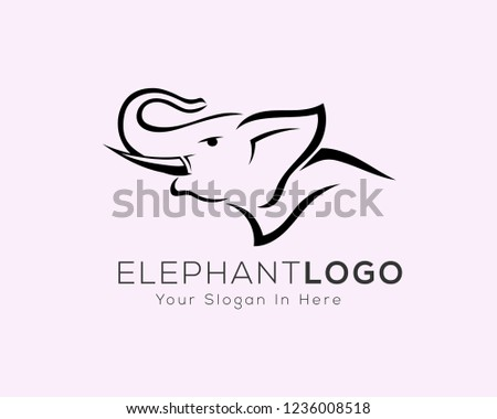 ced4ad038 Head Roaring Elephant Drawing Art Logo Stock Vector (Royalty Free ...
