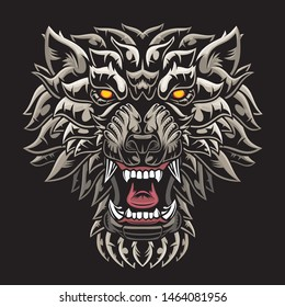 Head of roaring gray wolf. Vector illustration for use as print, poster, sticker, logo, tattoo, emblem and other.