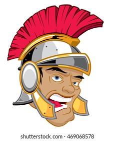 Head of roman soldier in centurion helmet