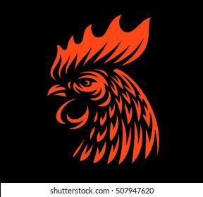 Head rooster illustration design on dark background