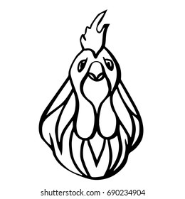 head of a rooster. Portrait of a chicken. Linear drawing. Hand drawn vector illustration