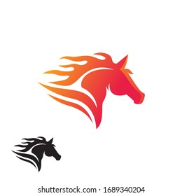 head running fire horse logo design inspiration
