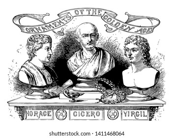 Head sculptures of Cicero, vintage line drawing or engraving illustration.