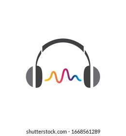 Head set icon logo template vector illustration