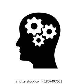 head and settings icon. head with cogwheel vector