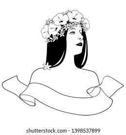 Head and shoulders of beautiful girl with flower wreath and text banner on white background. Label, logo or brand.