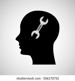 head silhouette black icon wrench tool vector illustration eps 10