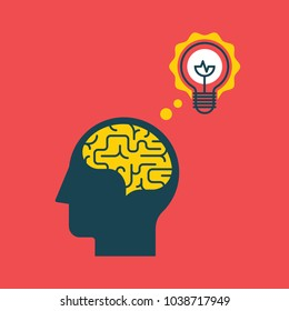 Head silhouette with brain inside and shining light bulb. Brainstorm and creative idea concept. Vector illustration.