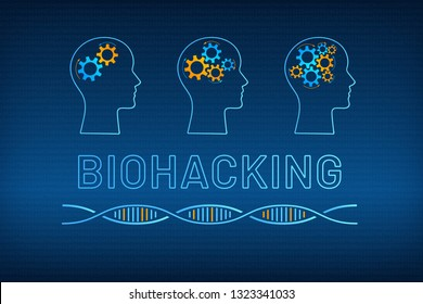 Head silhouette with gear brain bio hacking concept vector illustration. Face profile with improved gear mechanism brain, blue, orange dna molecule helix and big sign biohacking on digital background