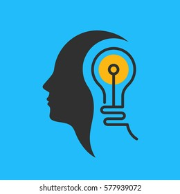 Head silhouette with light bulb inside. Brainstorm and creative idea concept. Vector icon.